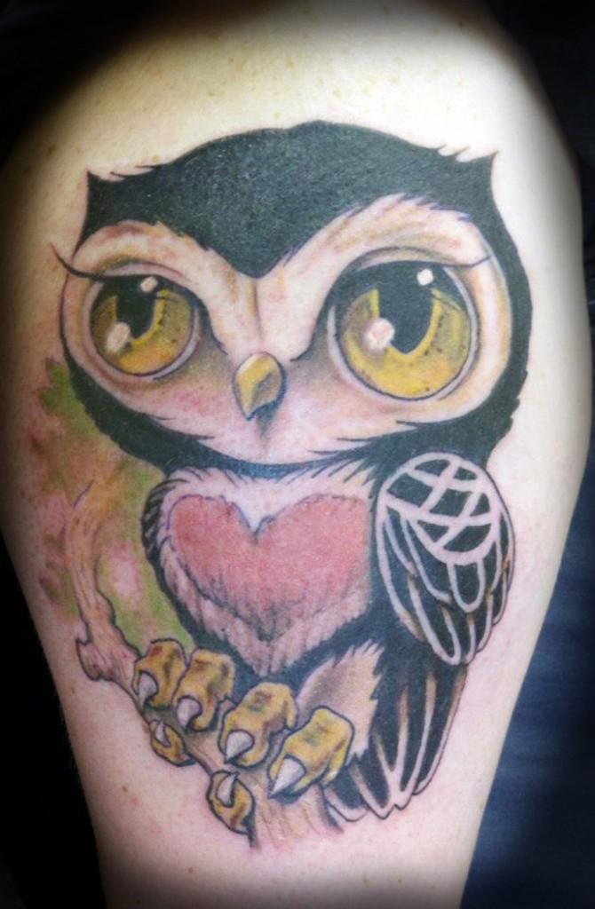 colorful cartoon owl tattoo